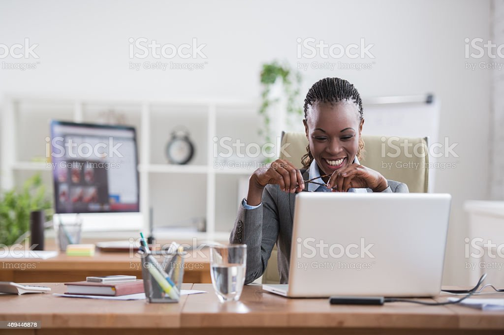 African business woman working stock photo