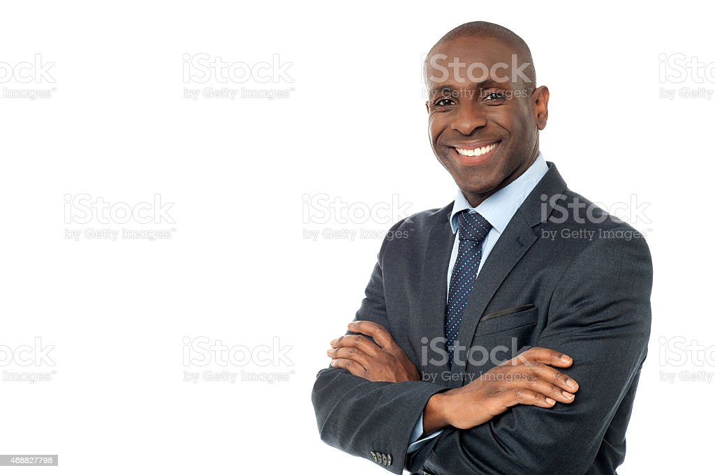 African businessman looking at camera stock photo