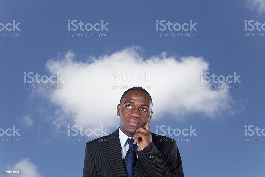 African businessman thinking royalty-free stock photo