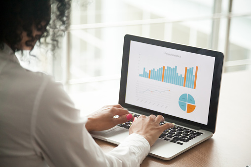 istock African businesswoman analyzing project statistics on laptop screen, close up 923041230