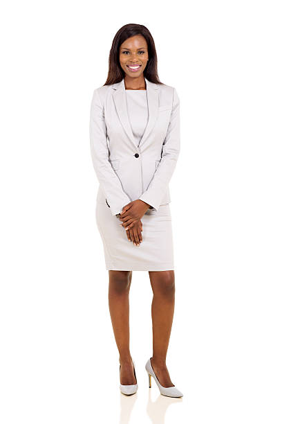 african businesswoman in a suit stock photo