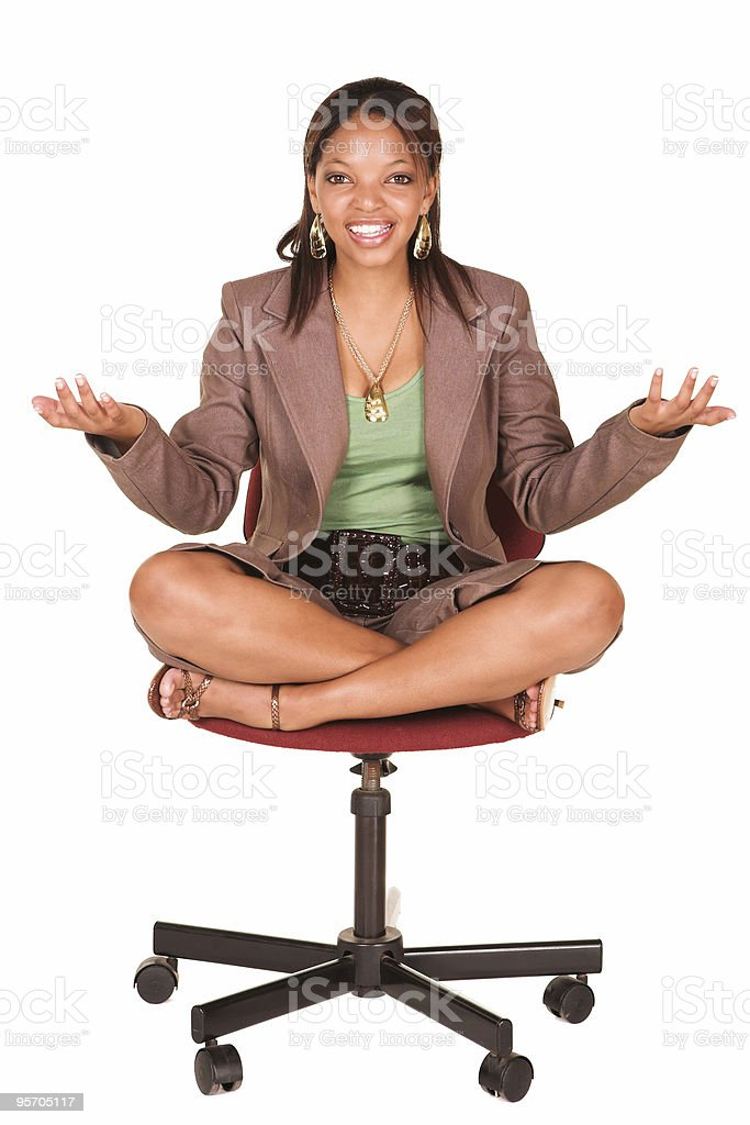 African businesswoman on office chair royalty-free stock photo