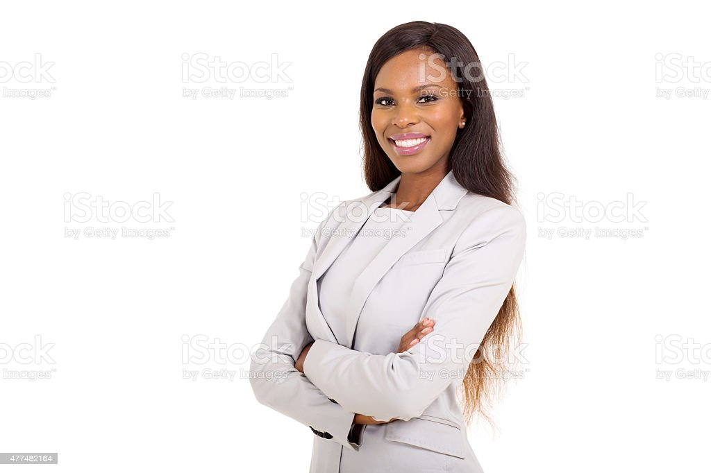 african businesswoman with arms crossed stock photo
