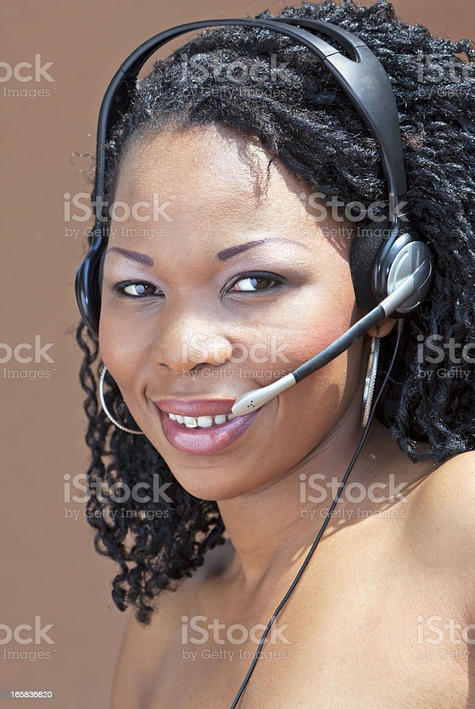 African Call Centre Lady stock photo
