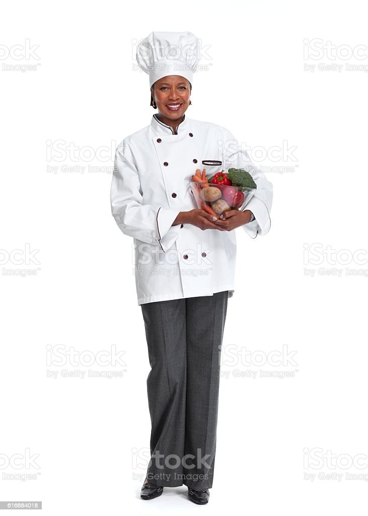 African chef woman. stock photo