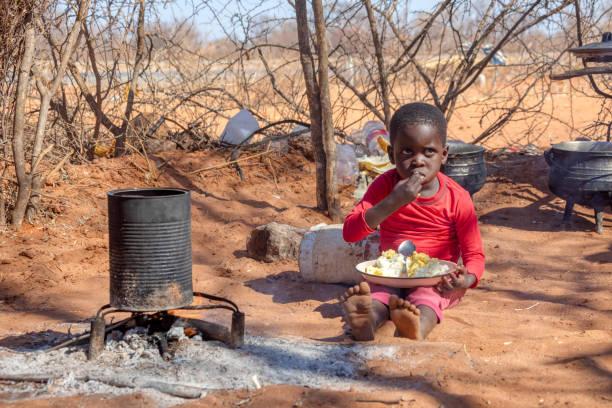 african child in a village near Kalahari desert