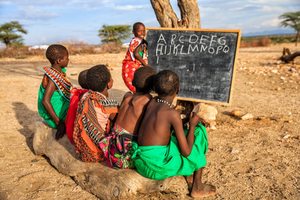 African children during English class, East Africa stock photo