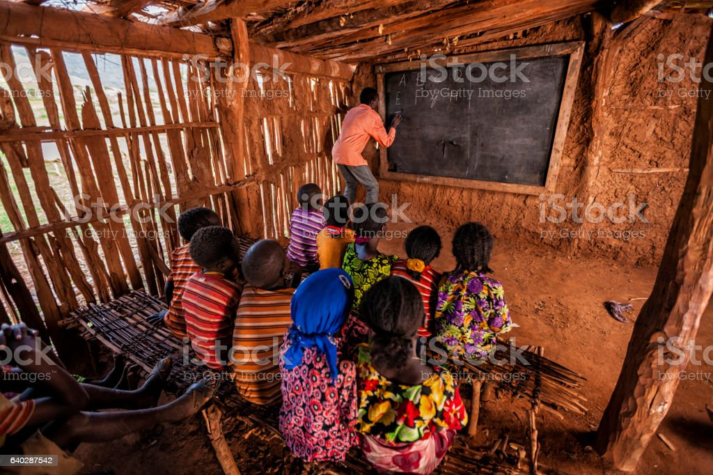 African children during english class, southern Ethiopia, East Africa stock photo
