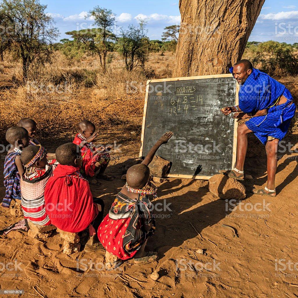 African children during math class, Kenya, East Africa stock photo