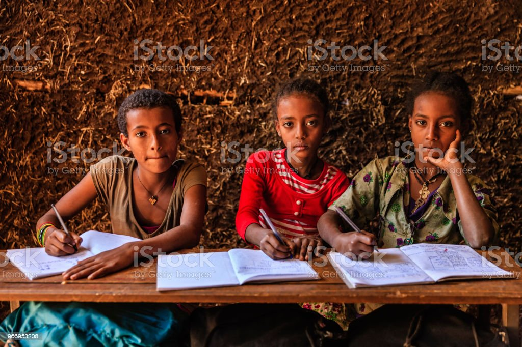 African children during Amharic language class in very remote school....