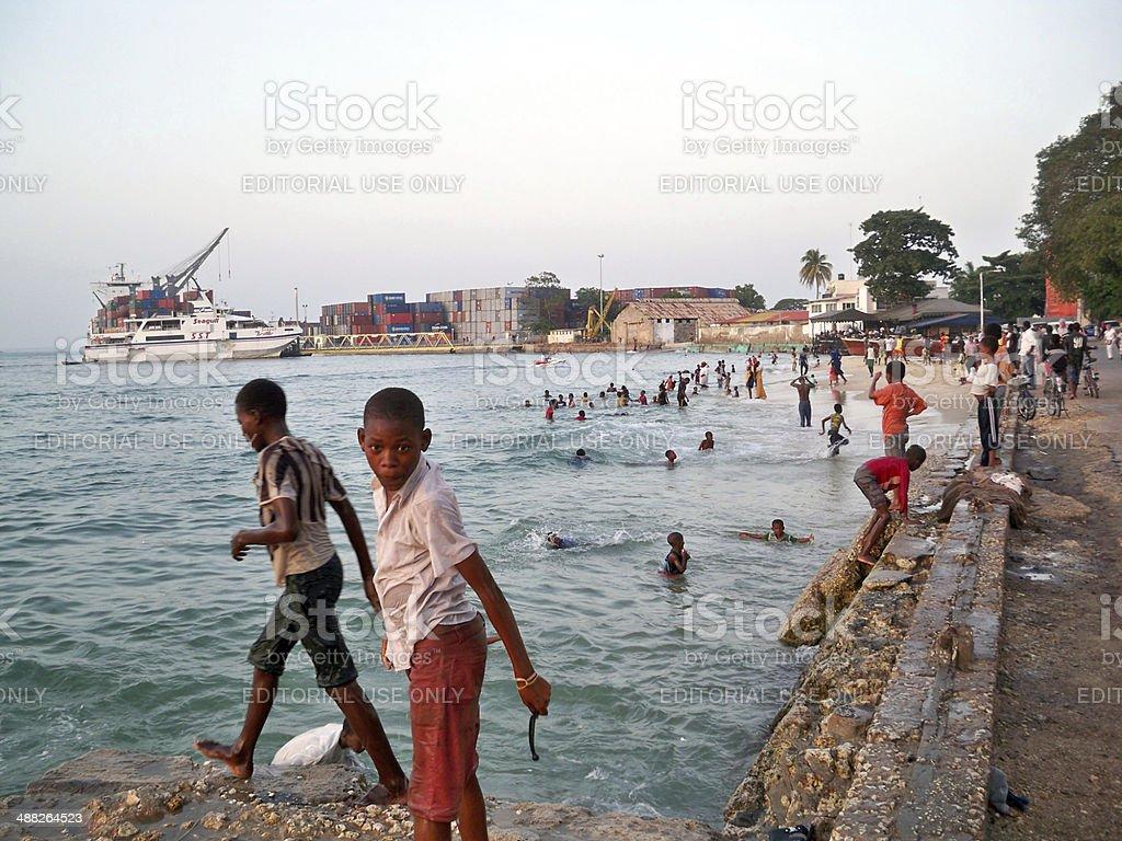 African children having fun at a beach stock photo
