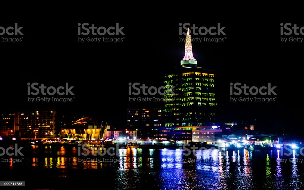 African city by night - Lagos, Nigeria stock photo