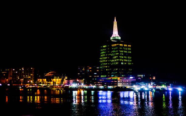 African city by night - Lagos, Nigeria stock photo