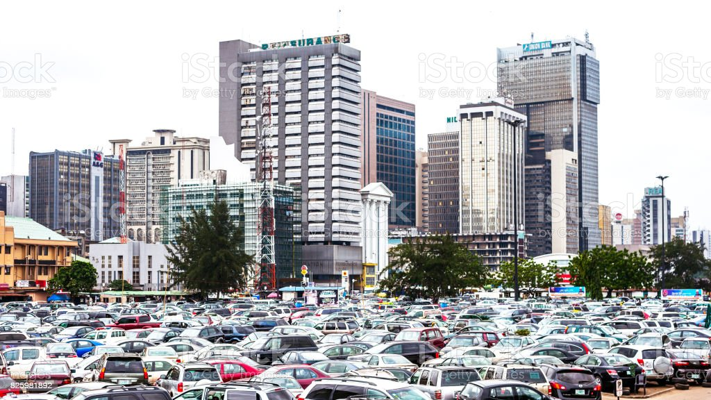 African city downtown - Lagos, Nigeria. stock photo