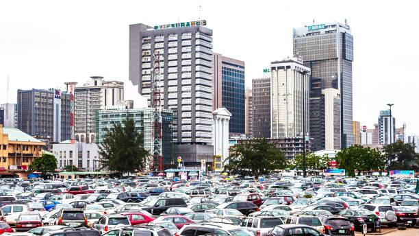 African city downtown - Lagos, Nigeria. stock photo