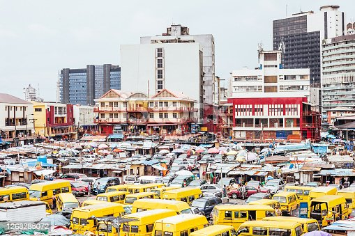 Downtown Lagos market (Balogun) and transport hub, Nigeria, West Africa