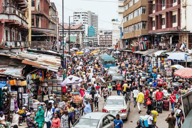 African city market streets - Lagos, Nigeria stock photo