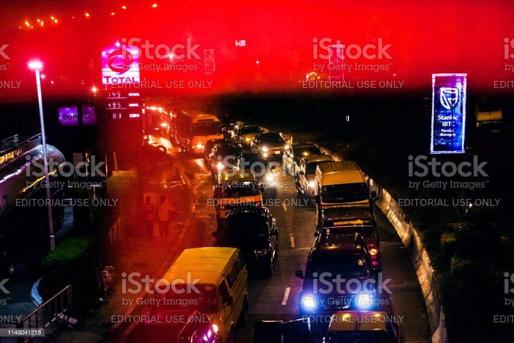 African city night traffic - Lagos, Nigeria stock photo