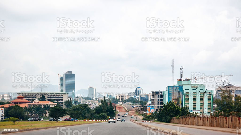 African city skyline. Abuja, Nigeria. stock photo