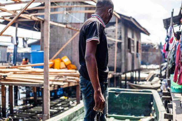 African city slum - Lagos, Nigeria stock photo