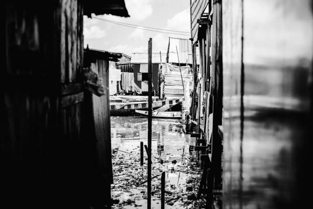African city slum - Makoko, Lagos, Nigeria stock photo