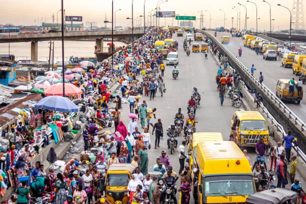 African city street market - Lagos, Nigeria stock photo