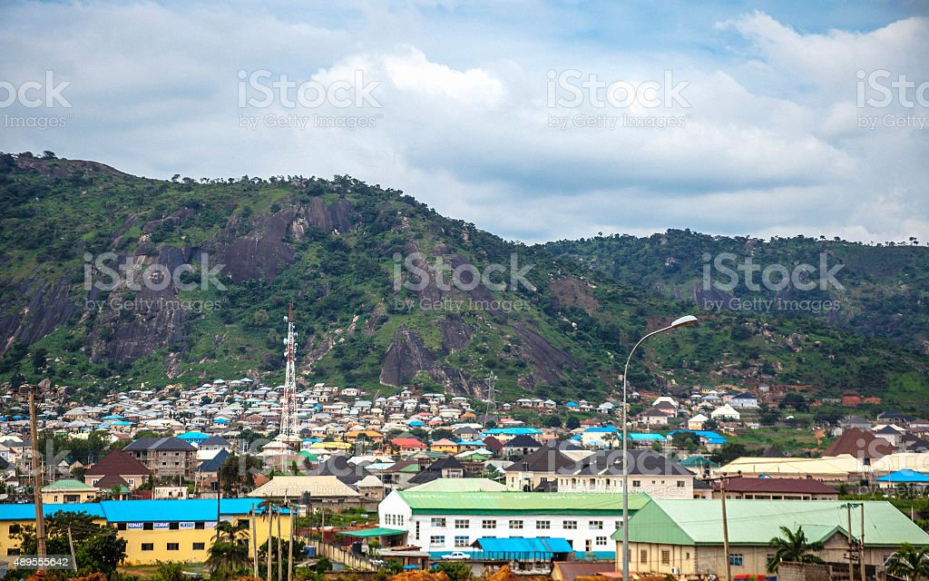 African city suburbs, Abuja, Nigeria. stock photo