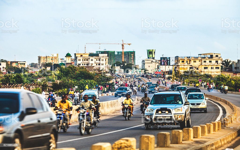 African city traffic. stock photo