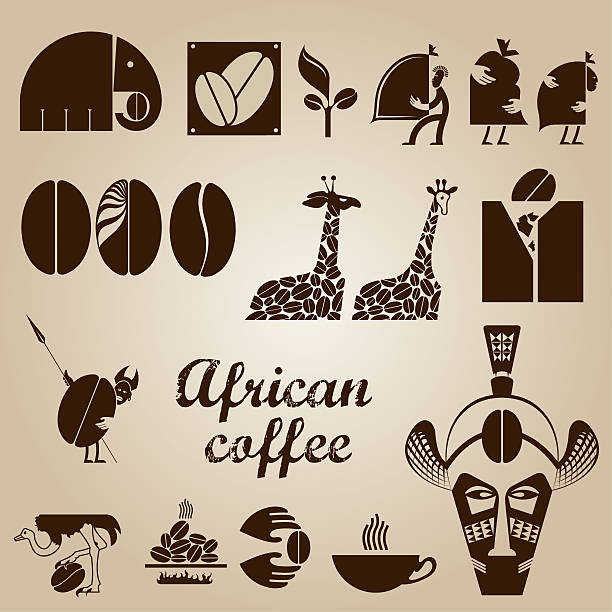 African coffee design set stock photo