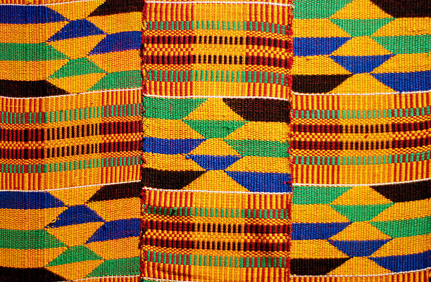 african colored pattern fabric background - africa 個照片及圖片檔