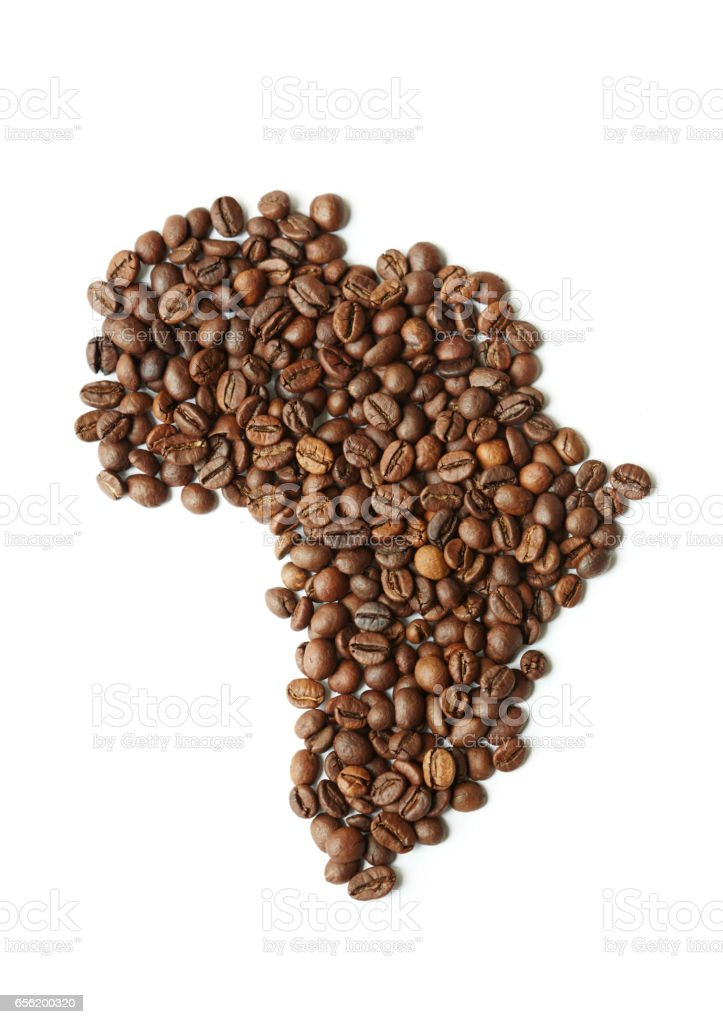 African Continent Made of Rich Brown Coffee Seeds stock photo