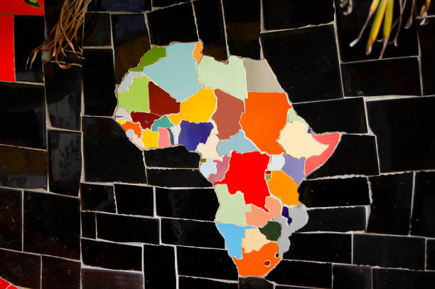 African Continent on Tiles stock photo
