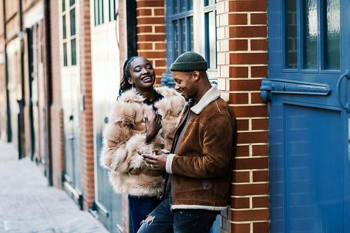 African couple having fun outdoors