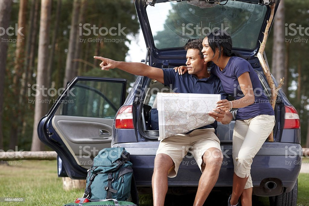 African couple on camping holiday royalty-free stock photo