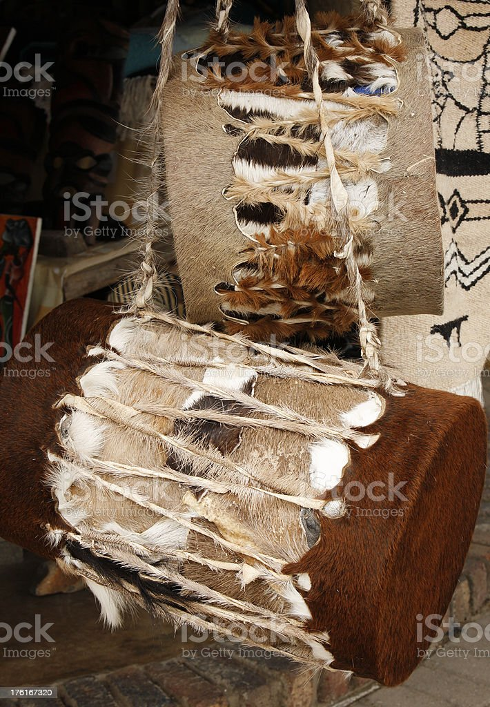 African cowhide drums South Africa royalty-free stock photo