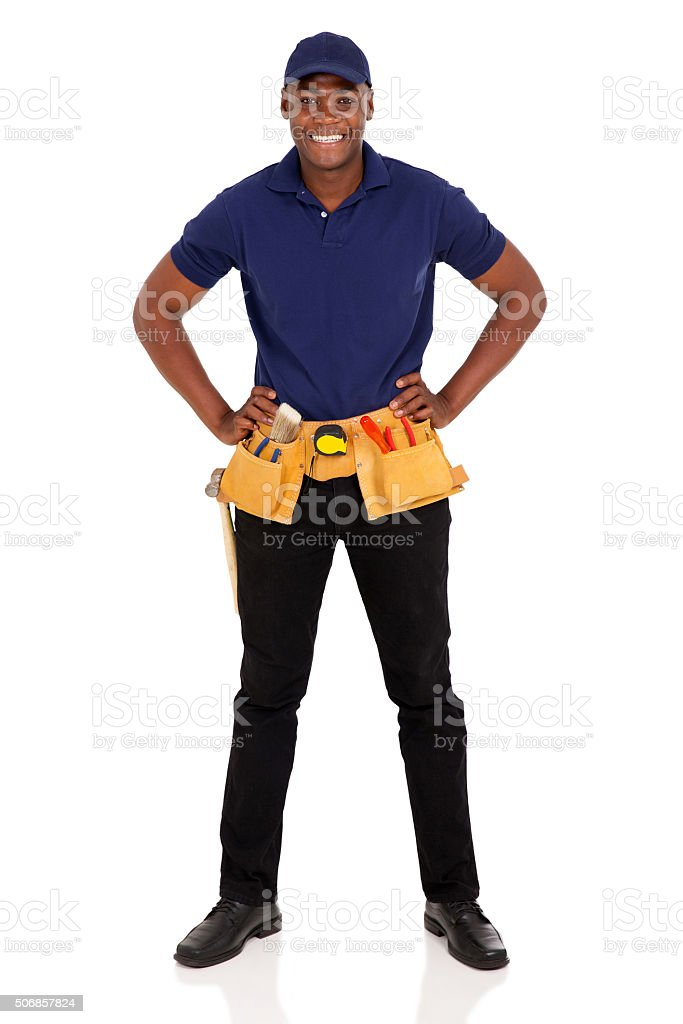 african craftman with tool-belt stock photo