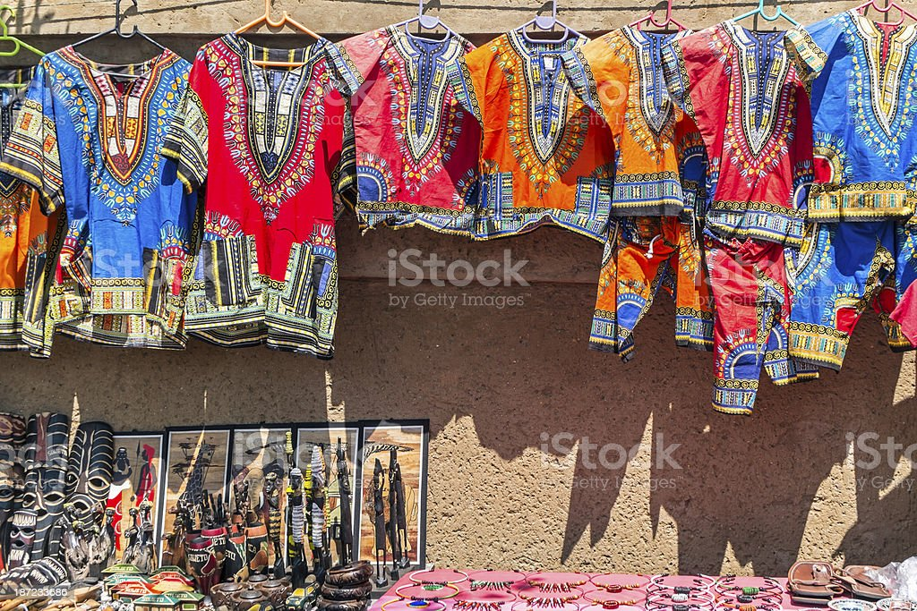 African Curios and clothing stock photo