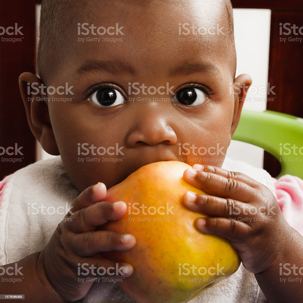 african descent baby girl eating apple, bib, high chair stock photo