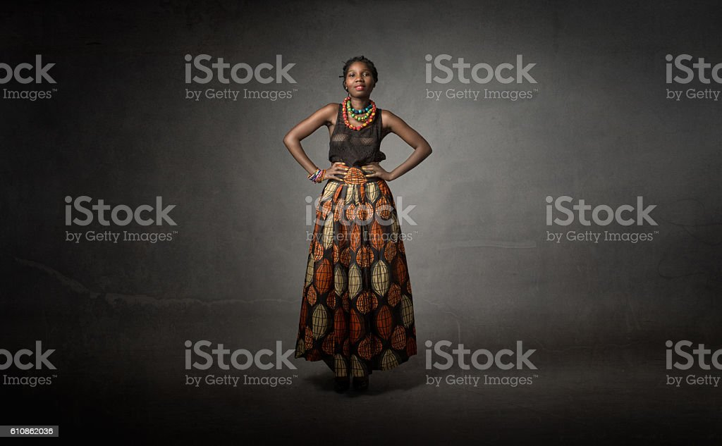 african descent in traditional dress stock photo