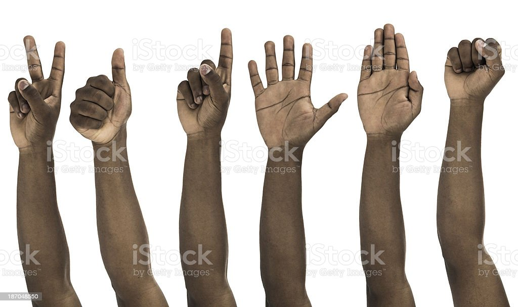 African descent man doing hand gestures stock photo