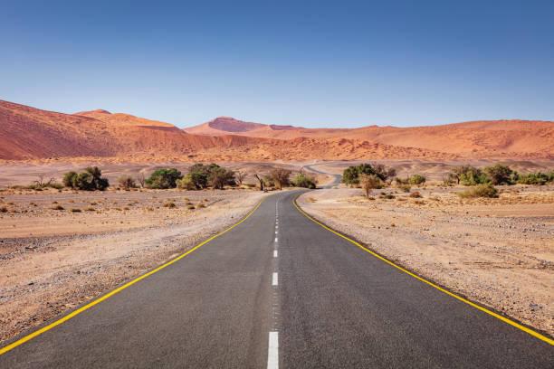 african desert highway durch sossusvlei, namibia - namib wüste stock-fotos und bilder