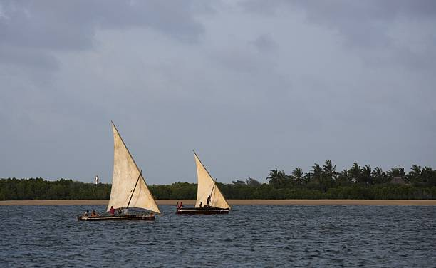 african dhows on the sea - kenyan culture stock photos and pictures