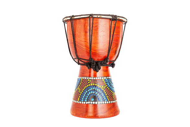 African djembe Drum isolated on white background. stock photo