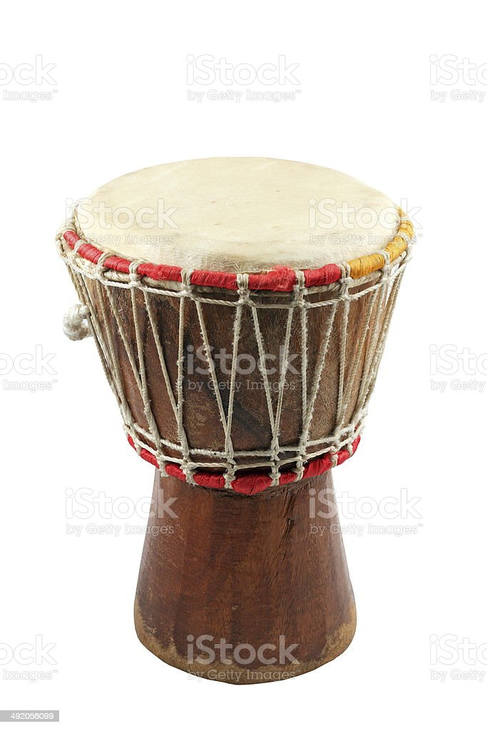 african djembe on white background stock photo