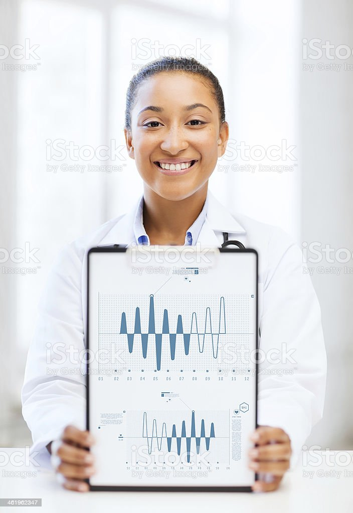 african doctor with cardiogram on clipboard royalty-free stock photo