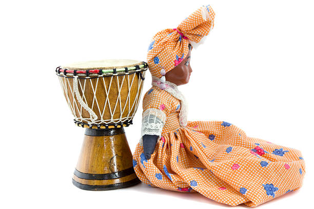 African drum and doll stock photo