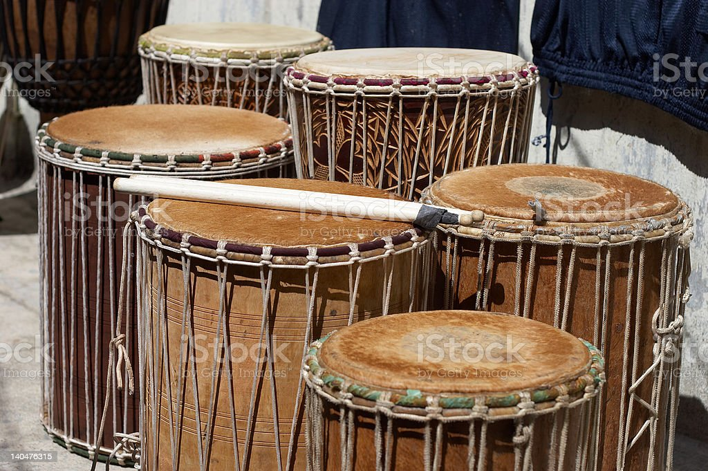 African drums set (jembe, tam-tam) and sticks stock photo