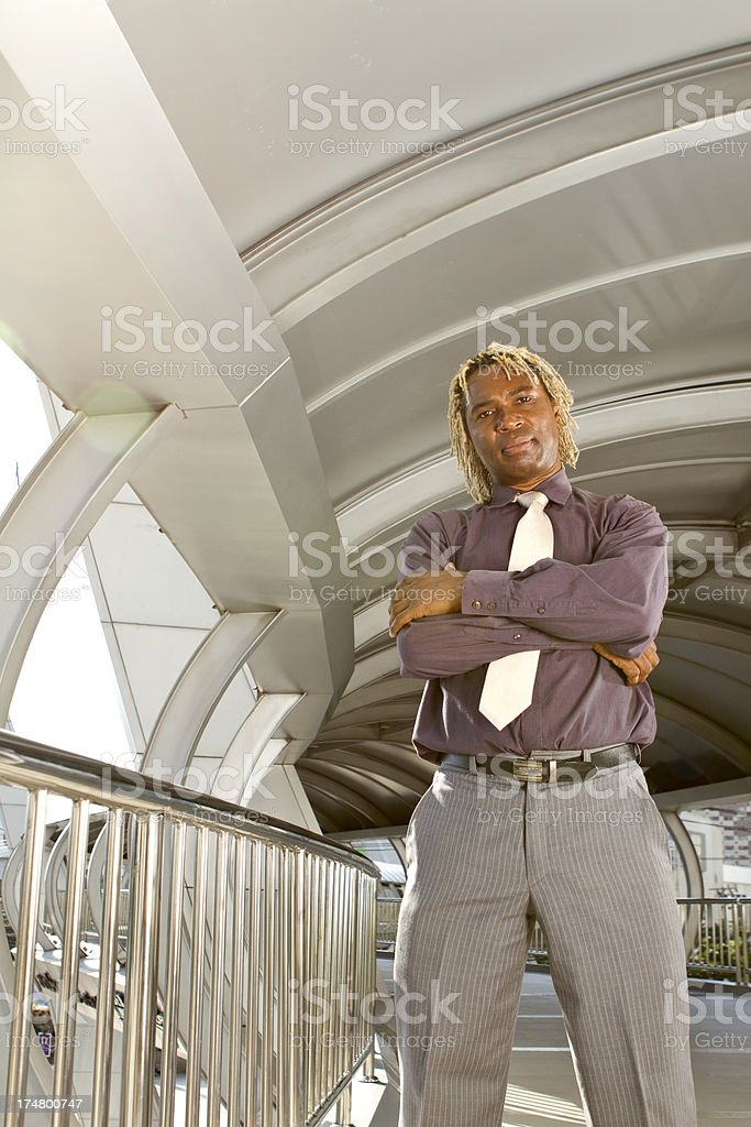 African entrepreneur in a modern hallway royalty-free stock photo
