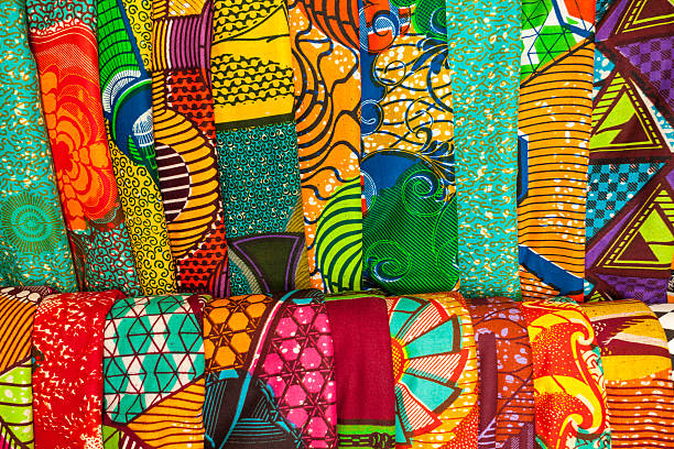african fabrics from ghana, west africa - textile stock photos and pictures
