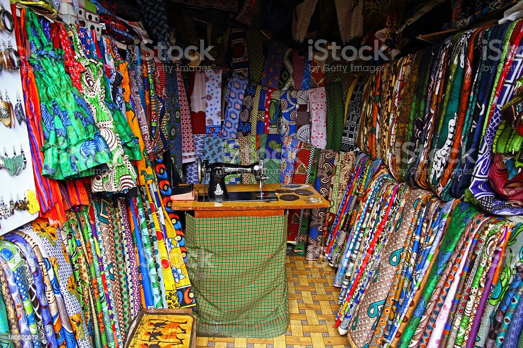 African Fabric/Textile Shop royalty-free stock photo